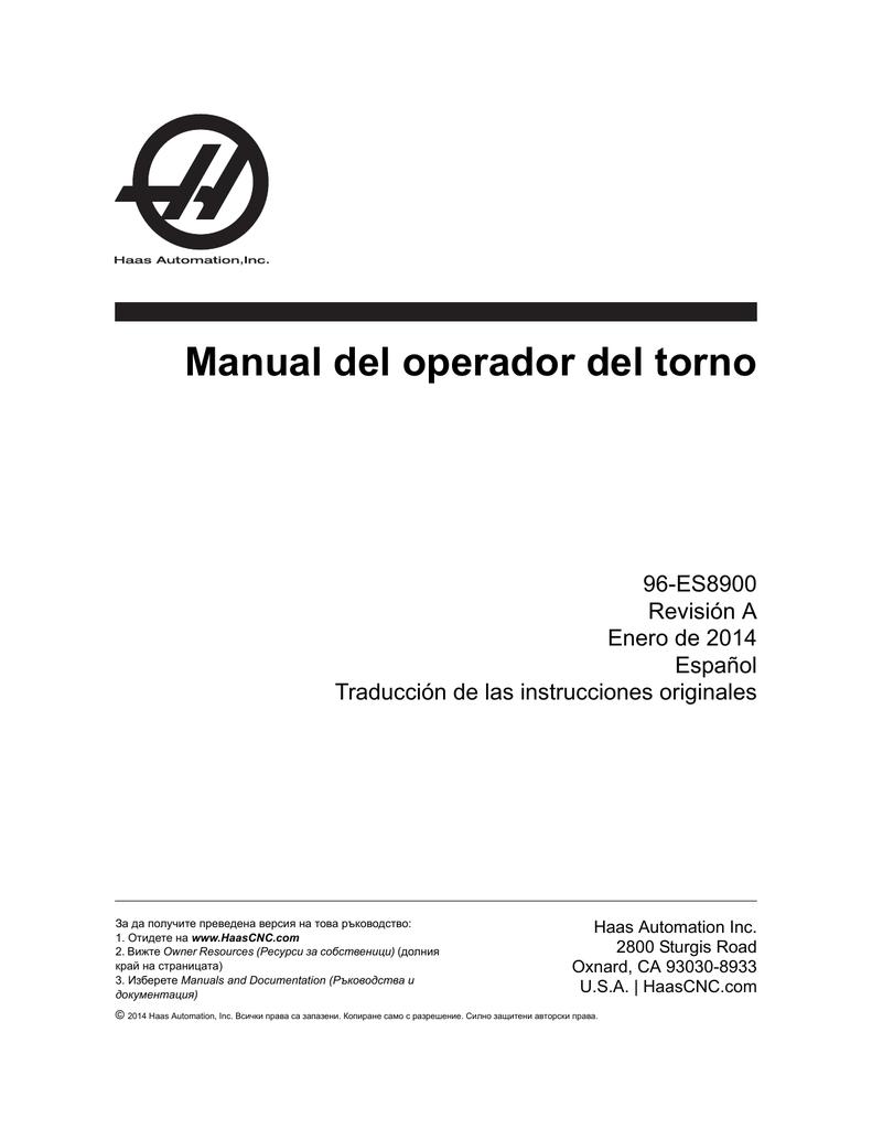 Manual del operador del torno - Haas Automation® Resource Center