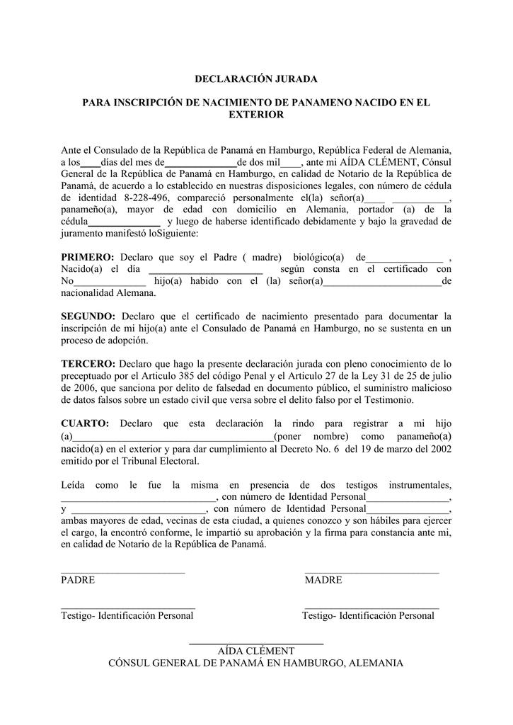 Magnífico Formato De Declaración Jurada El Certificado De Nacimiento ...