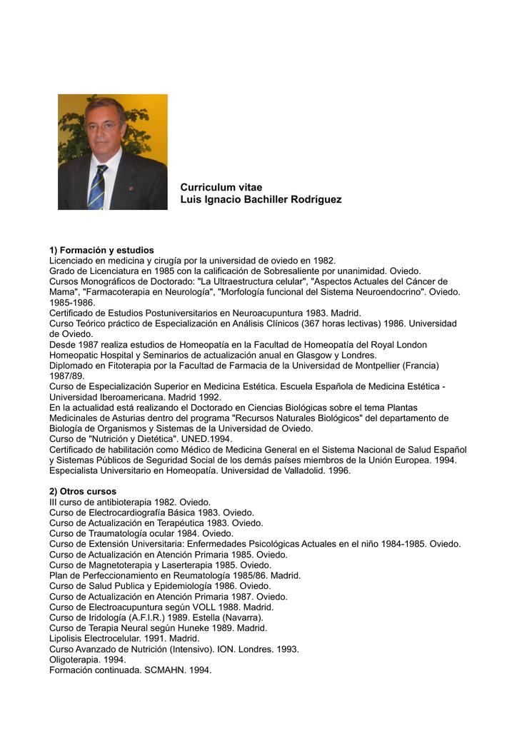 Curriculum vitae Luis Ignacio Bachiller Rodríguez
