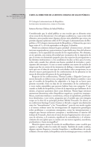 319 CARTA AL DIRECTOR DE LA REVISTA CHILENA DE SALUD