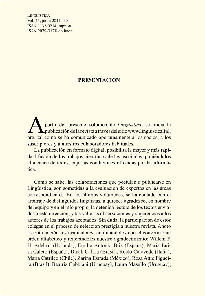 Presentación A Partir Del Presente Volumen De Lingüística Se
