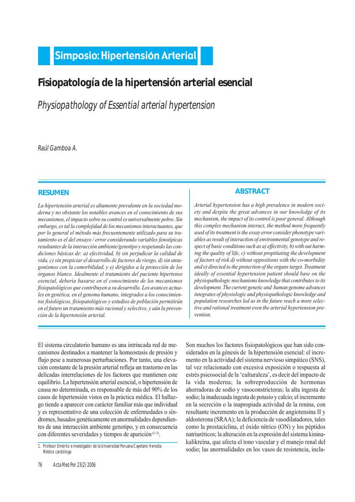 Fisiopatología de la hipertensión arterial esencial Simposio