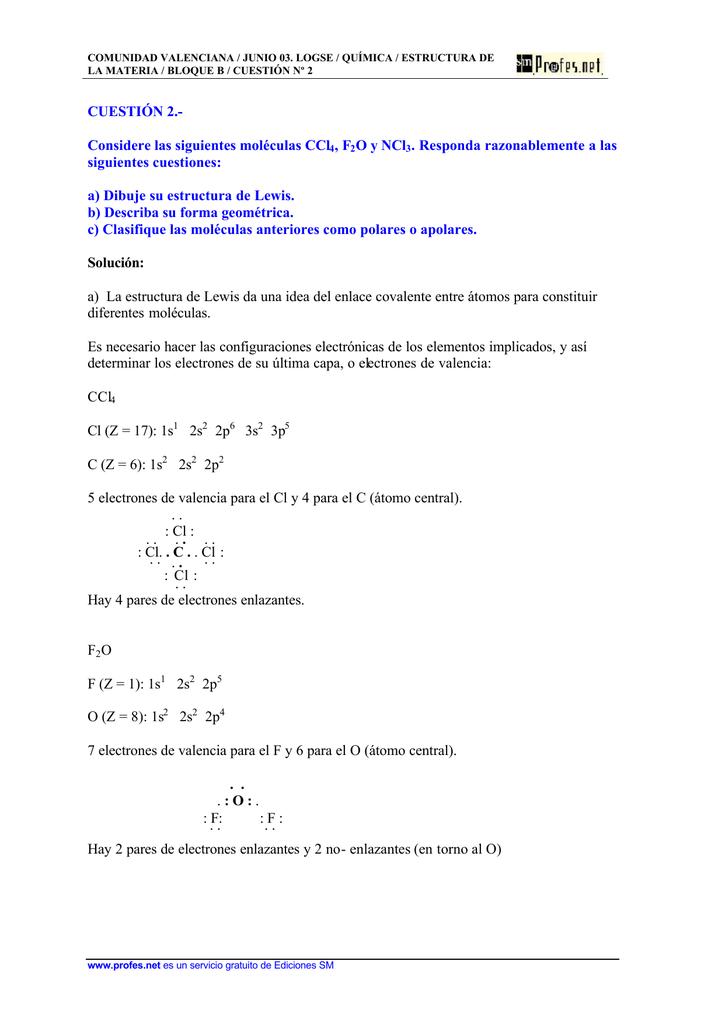 Cuestión 2 Considere Las Siguientes Moléculas Ccl4 F2o Y