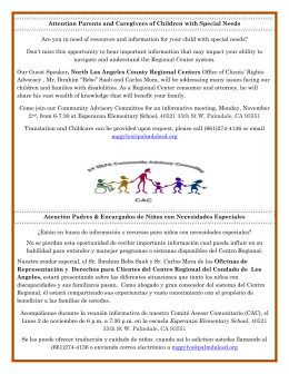 Attention Parents and Caregivers of Children with Special Needs