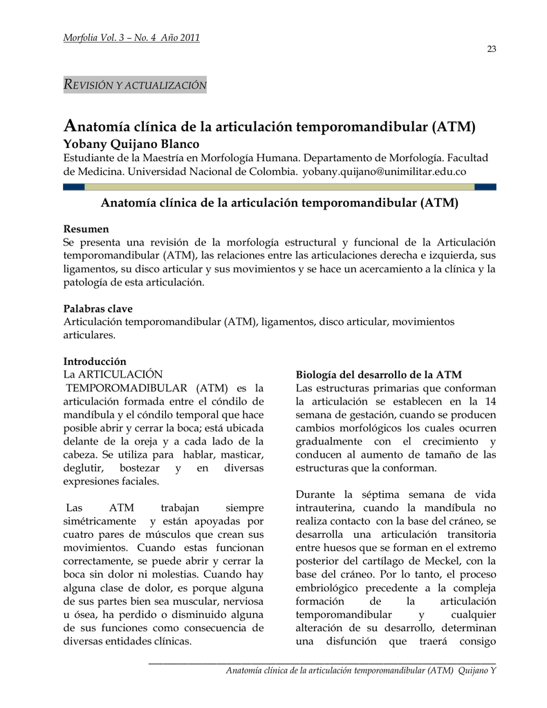 Anatomía clínica de la articulación temporomandibular (ATM)