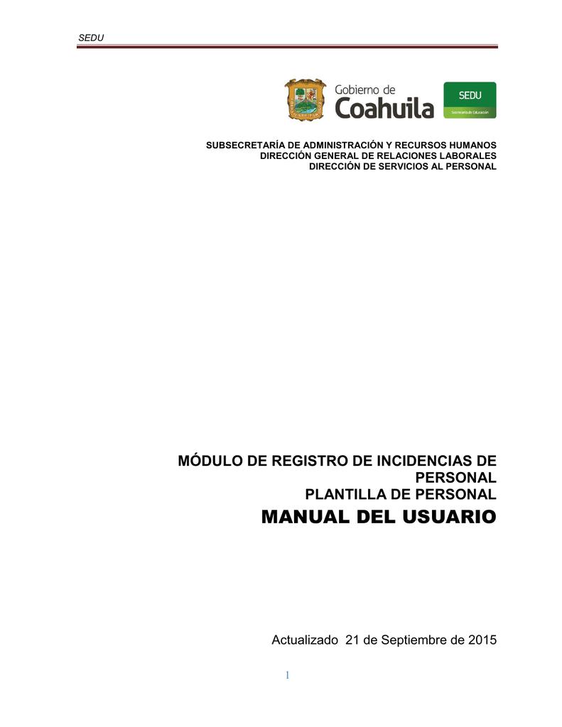 Manual del usuario para el registro de incidencias de personal
