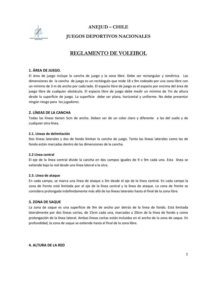 Reglamento para jugar voleibol