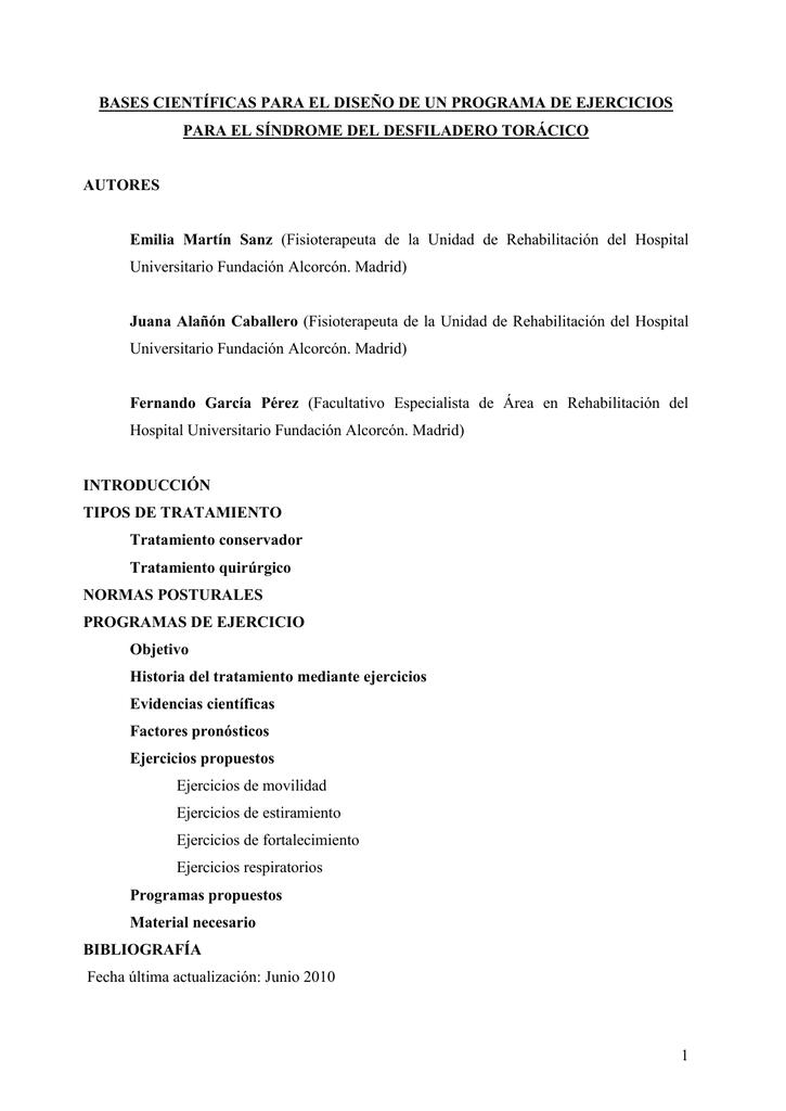 S. Desfiladero Torácico - Programas de ejercicios