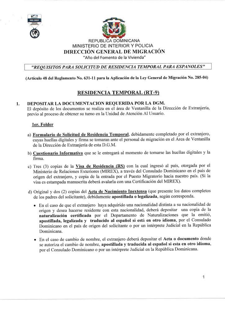requisitos para la solicitud de residencia temporal para españoles