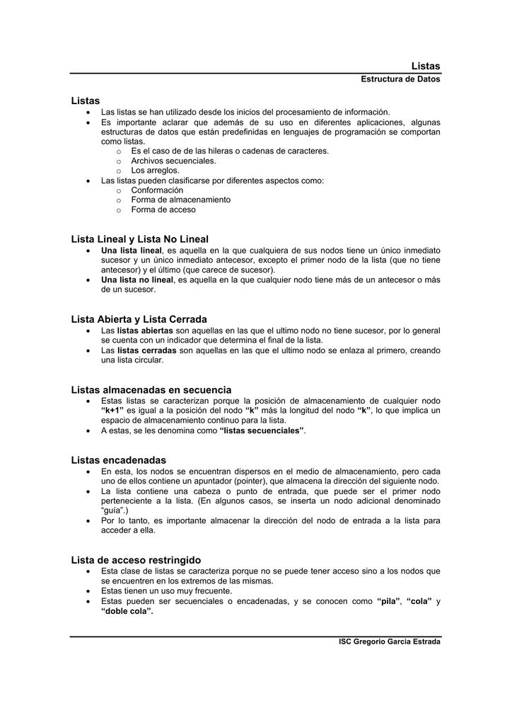 Listas Listas Lista Lineal Y Lista No Lineal Lista Abierta Y