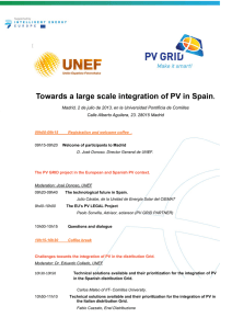Towards a large scale integration of PV in Spain.