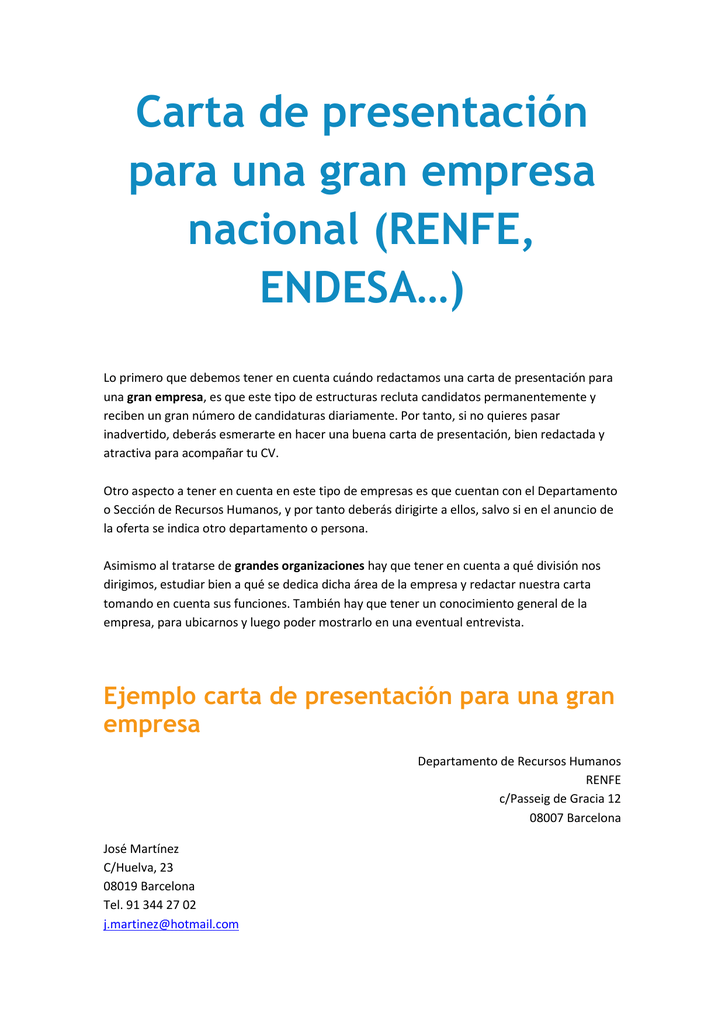 Carta De Presentacion Para Una Gran Empresa Nacional Renfe
