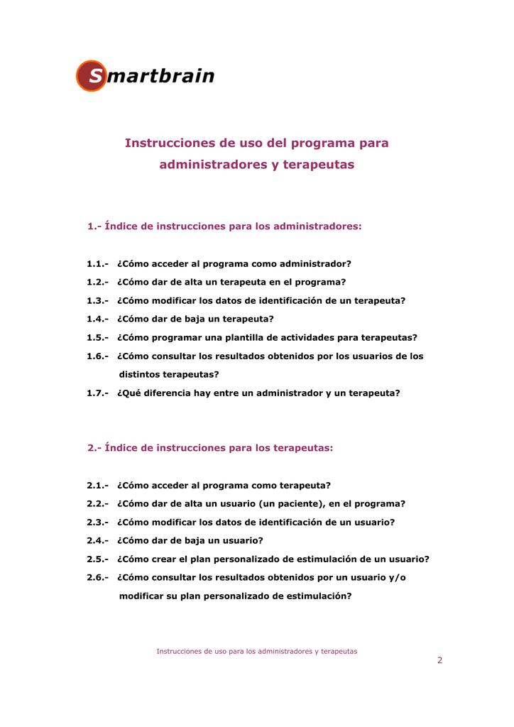 Instrucciones de uso del programa para administradores y terapeutas