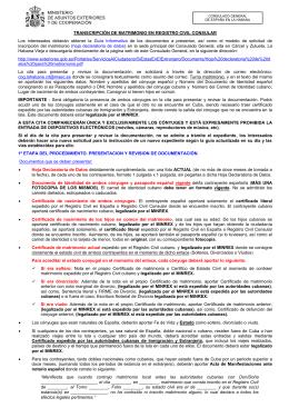 Transcripci n de matrimonio en registro civil consular for Registro viajeros ministerio exteriores