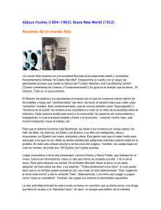 Aldous Huxley (1894-1963): Brave New World (1932) Resumen de