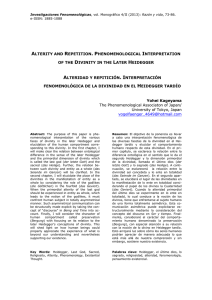 alterity and repetition. phenomenological interpretation of the
