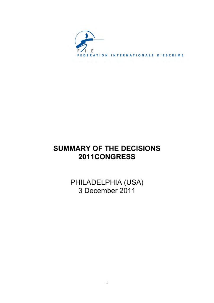 Payer Contravention Montréal >> Summary Of The Decisions 2011congress Philadelphia