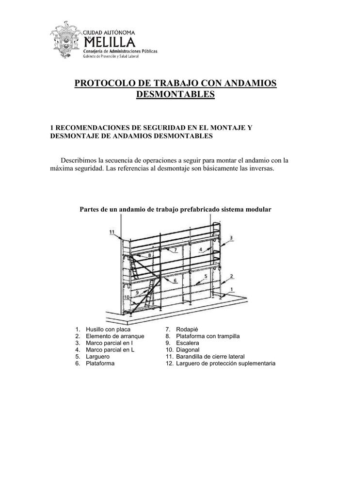 protocolo de trabajo con andamios desmontables