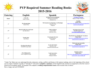 PYP Required Summer Reading Books 2015