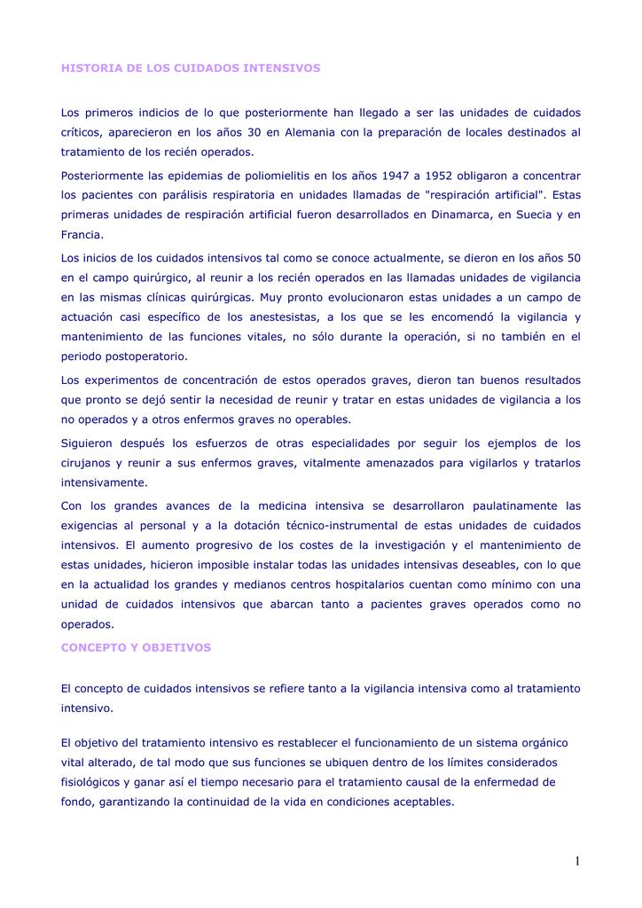 definicion de cuidados intensivos pdf