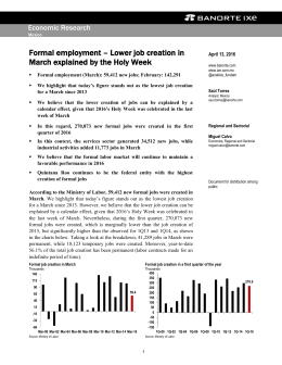 Formal employment – Lower job creation in March explained by the