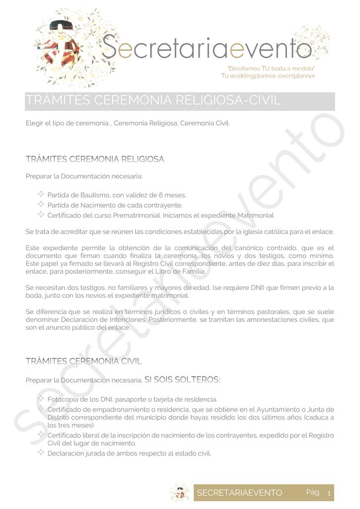 AGENDA, TRÁMITES CEREMONIA RELIGIOSA