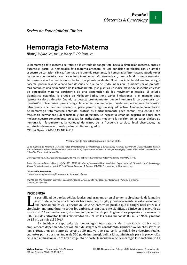 Resultados normales de Kleihauer-Betke para la diabetes gestacional