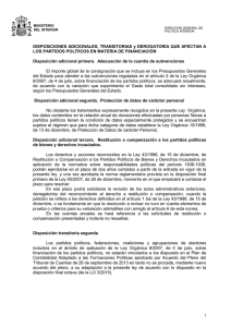 DISPOSICIONES ADICIONALES, TRANSITORIAS y