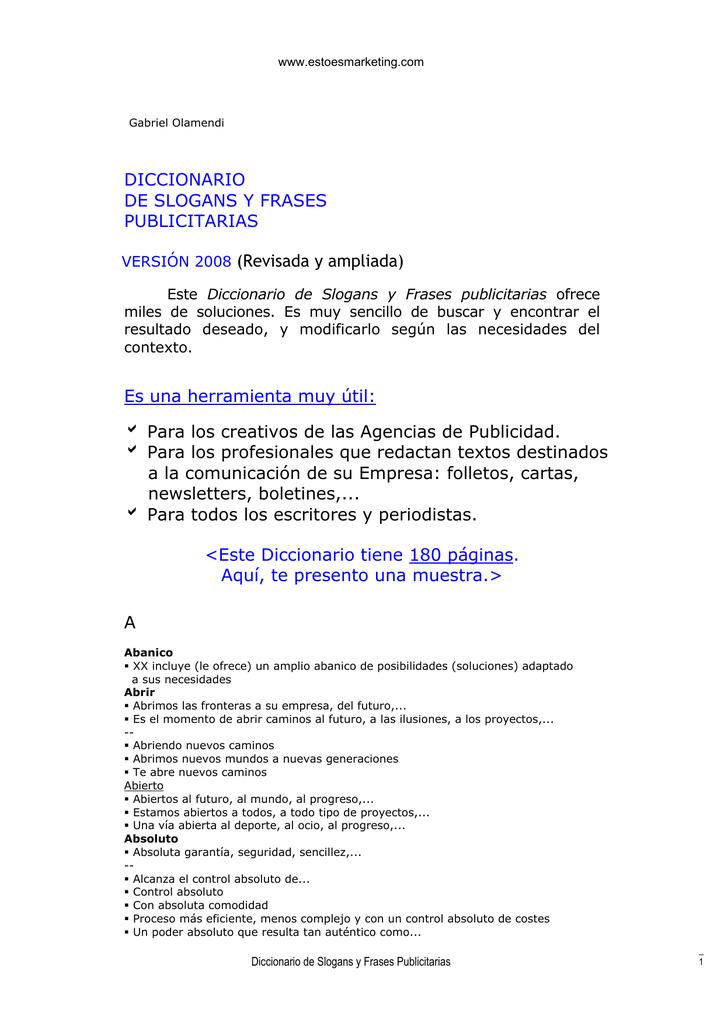 Diccionario De Slogans Y Frases Publicitarias