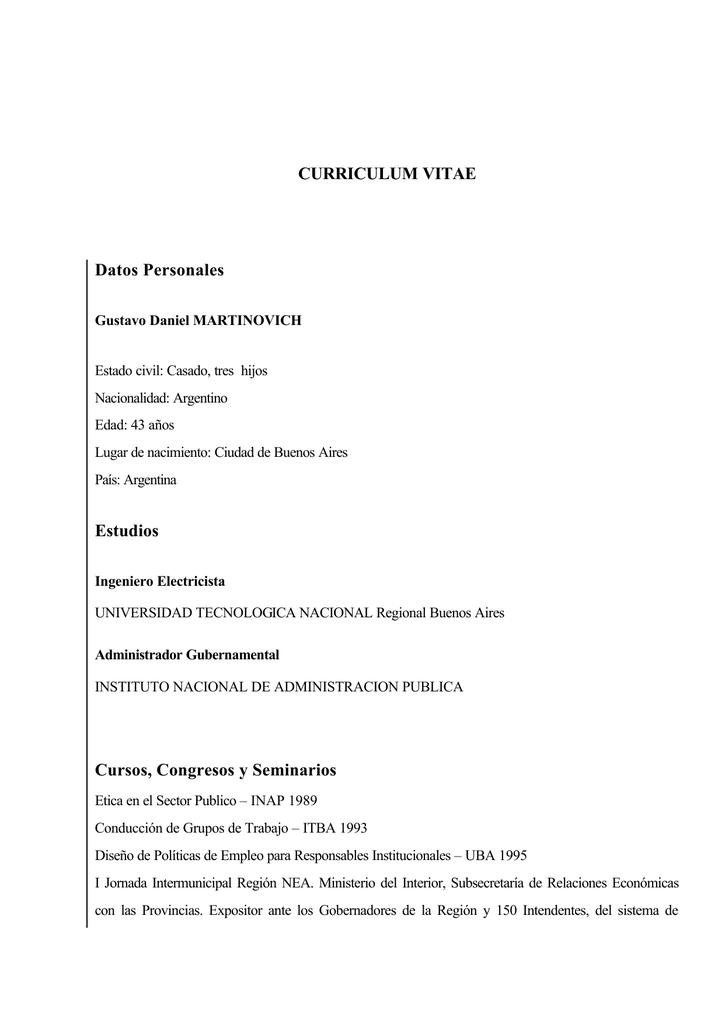 CURRICULUM VITAE Datos Personales Estudios Cursos
