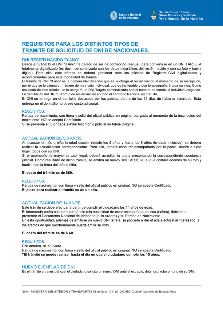 requisitos para los distintos tipos de trámite de solicitud