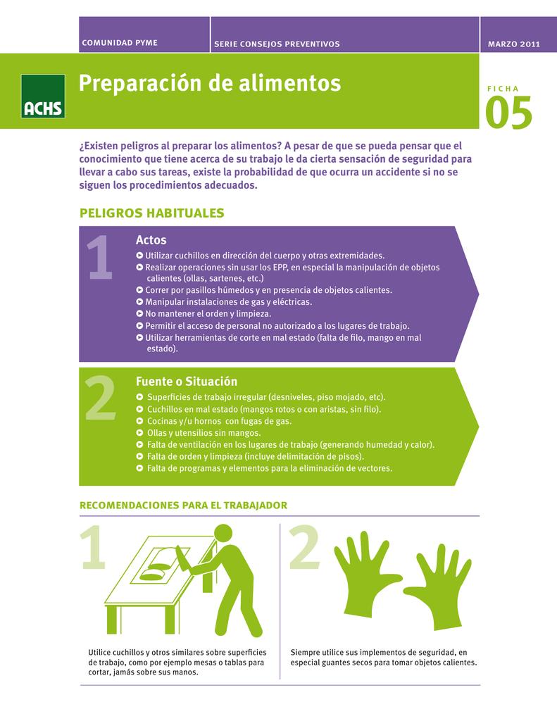 1a4bb8aae comunidad pyme serie consejos preventivos Preparación de alimentos ¿Existen  peligros al preparar los alimentos? A pesar de que se pueda pensar que el  ...