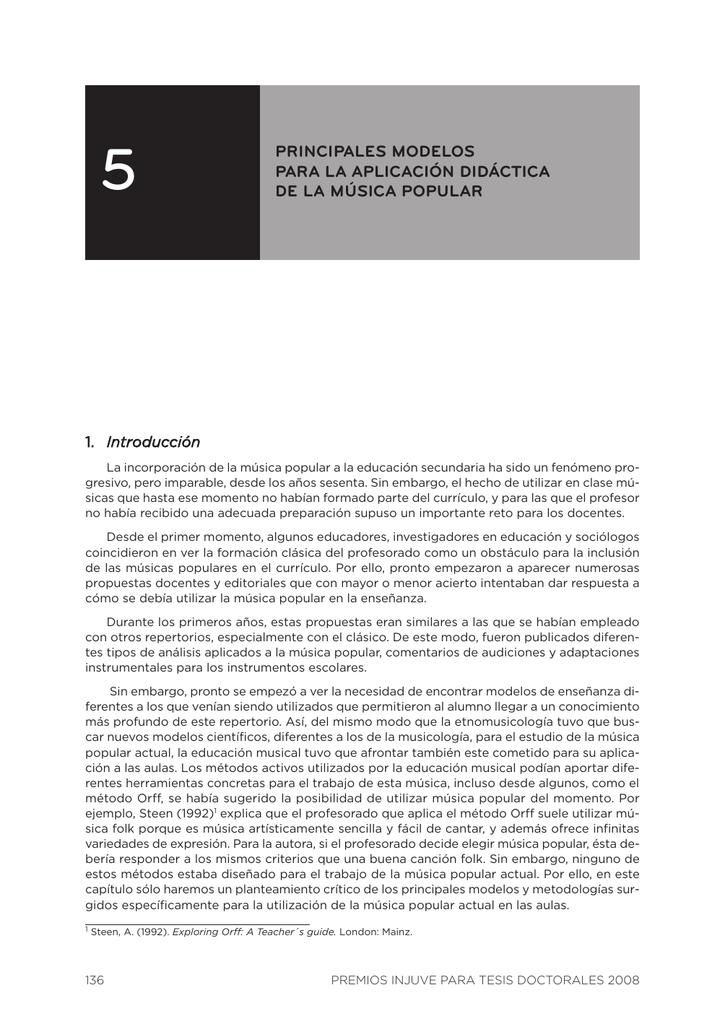 5. Principales modelos para la aplicación didáctica de la
