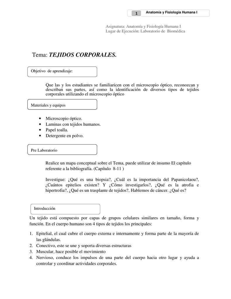 Tema: TEJIDOS CORPORALES.