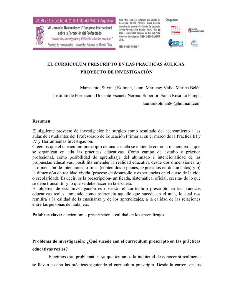 el Currículum prescripto en las prácticas áulicas