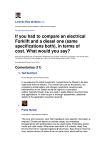 If you had to compare an electrical Forklift and a diesel one (same