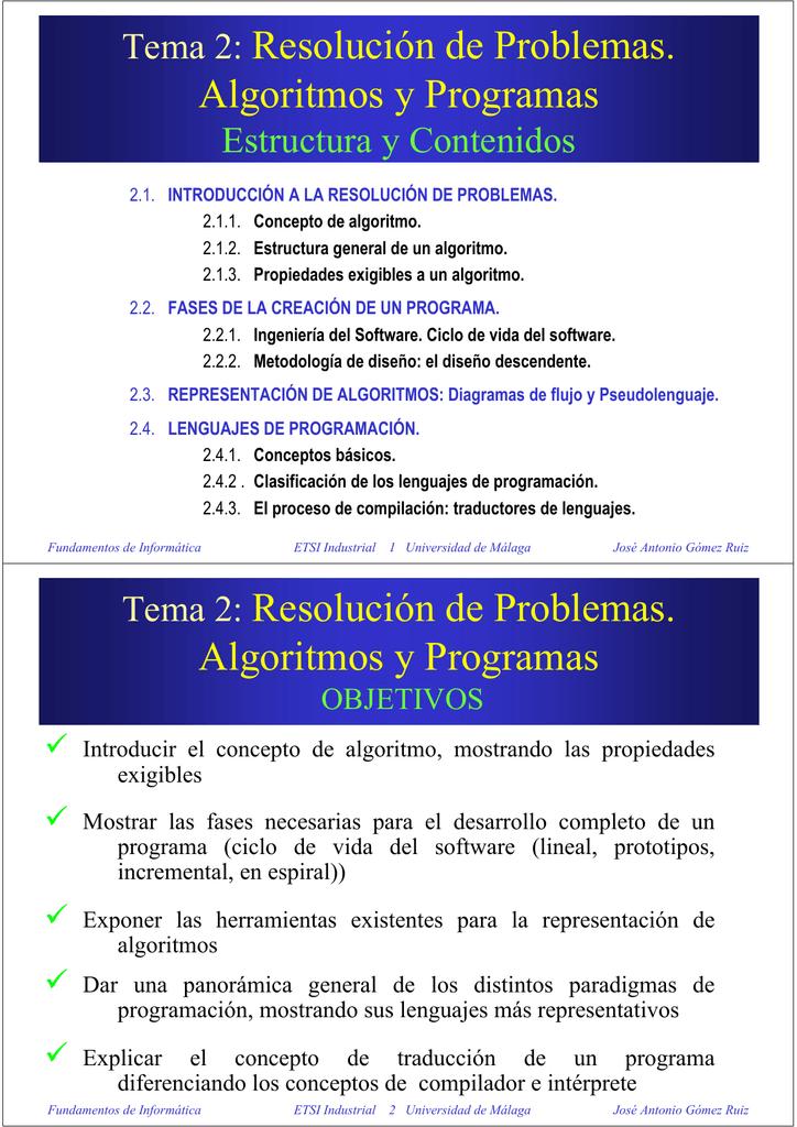 Tema 2 Resolución De Problemas Algoritmos Y Programas Tema 2