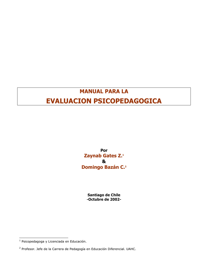 MANUAL DE EVALUACIÓN PSICOPEDAGOGICA