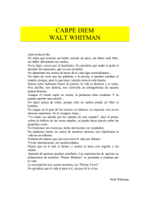 CARPE DIEM WALT WHITMAN