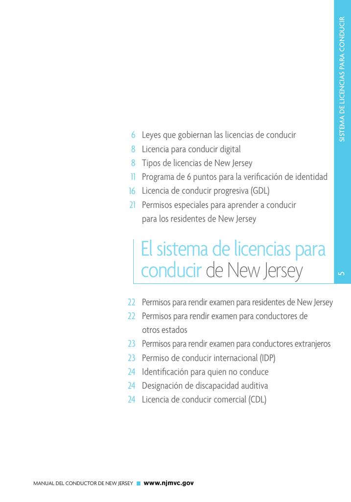 Reglas del dmv en el estado de new jersey test in spanish.