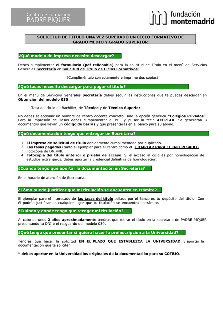 Tramites Solicitud Del Titulo De Ciclos Formativos
