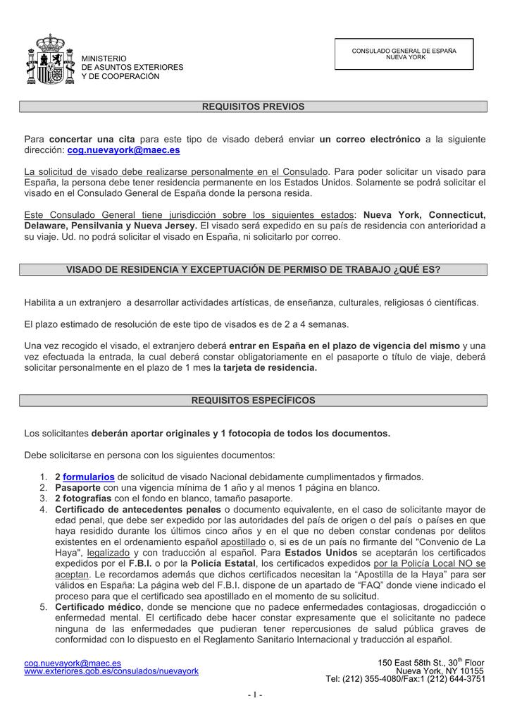 Visado de residencia y exceptuación de permiso de trabajo