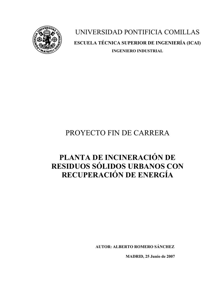 proyecto fin de carrera planta de incineración de residuos