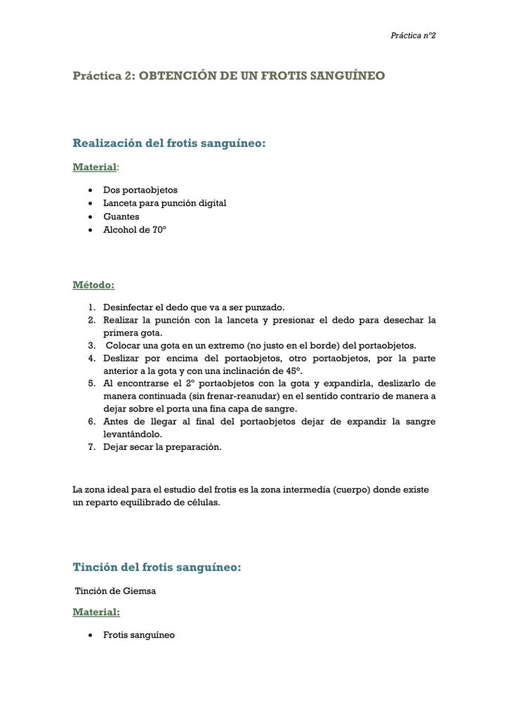 Práctica 2: OBTENCIÓN DE UN FROTIS SANGUÍNEO Realización