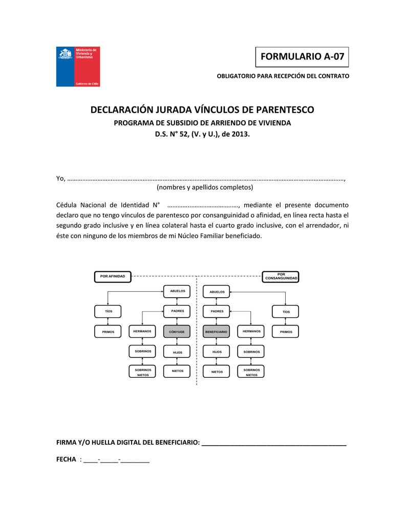 Declaración jurada vínculos de parentesco