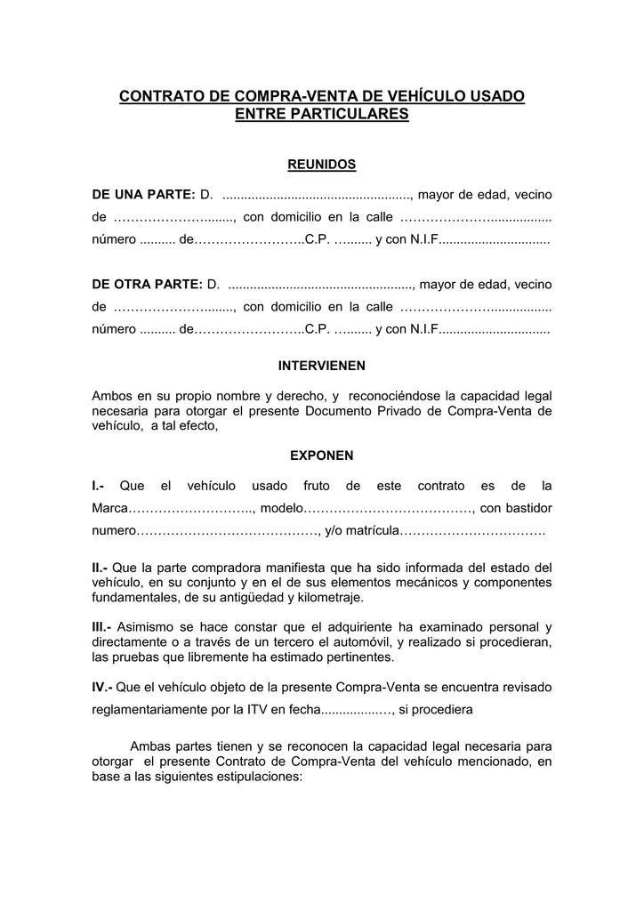 contrato de compra-venta de vehículo usado entre