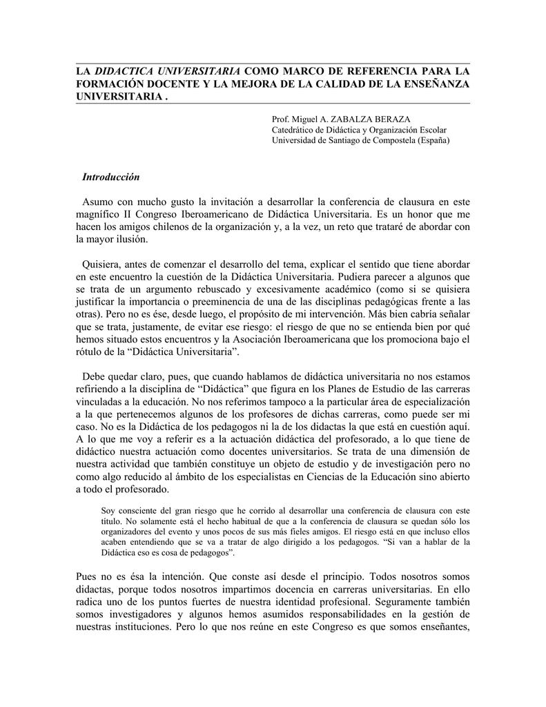 la didactica universitaria como marco de referencia para la