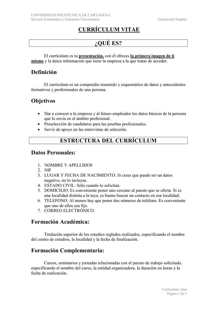 Curriculum Vitae Que Es Definicion Objetivos