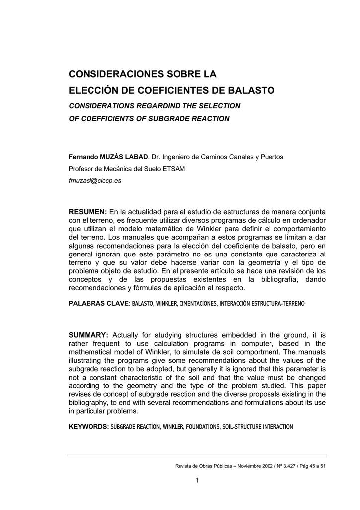 Coeficientes De Balasto