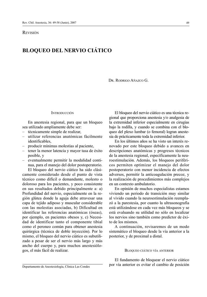 Bloqueo del Nervio Ciático - Sociedad de Anestesiología de Chile